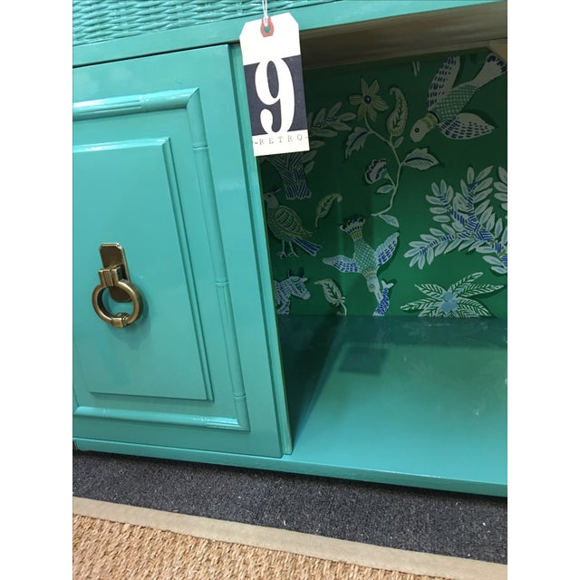 Dixie Lacquered Turquoise Faux Bamboo Credenza - Image 11 of 11