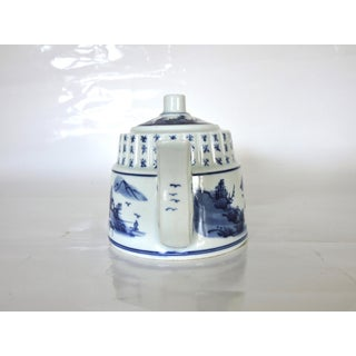 Vintage Hand Painted Blue and White Tea Pot With Chinese Calligraphy Preview