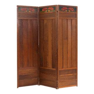 Arts and Crafts Oak 3-Fold Screen For Sale