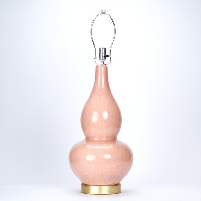 Traditional Casa Cosima Double Gourd Table Lamp, Pink Craquelure/Red Shade For Sale - Image 3 of 7