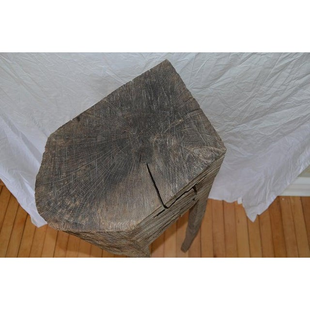 Wood Primitive Chopping Butcher Block With Knife Slots Carved From Fallen Maple Tree For Sale - Image 7 of 12