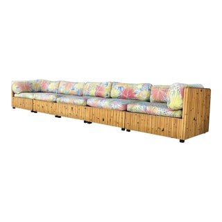 Vintage Bamboo Rattan Sectional Sofa For Sale