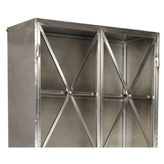 Modern, contemporary metal cabinet with glass panel doors overlaid with metal diamond pattern design. Includes three...