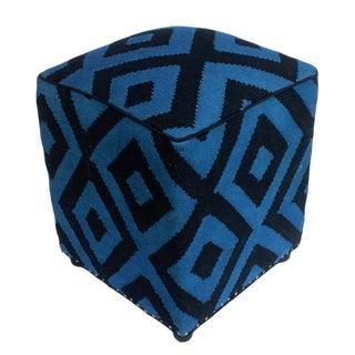 Arshs Delphia Lt. Blue/Black Kilim Upholstered Handmade Ottoman For Sale