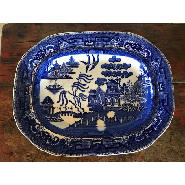 1930s English Flow Blue Willow Large Platter For Sale - Image 12 of 12