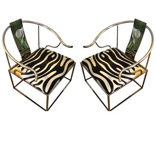 Zebra Chrome Ming Style Chairs - A Pair For Sale