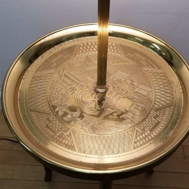 Gold Faux Bamboo Wood & Etched Brass Table Floor Lamp For Sale - Image 8 of 8