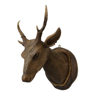 Wooden Carved Deer Mount With Real Antlers For Sale