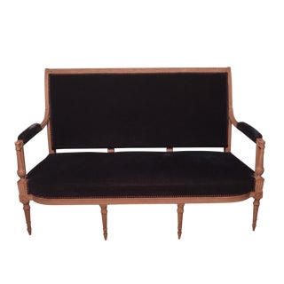 Neoclassical French Blue Velvet Settee For Sale