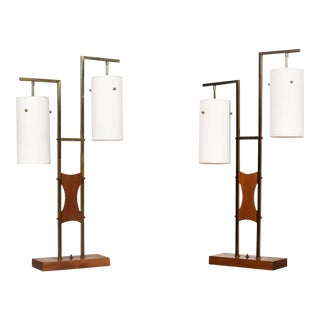 Pair of Mid Century Designer Two-Light Walnut, Brass & Frosted Glass Lamps For Sale
