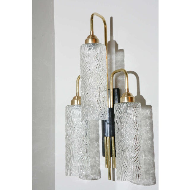 Large Brass Sconces With Vintage German Glass For Sale In Los Angeles - Image 6 of 8