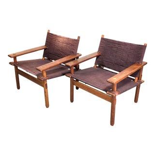 Mid Century Danish Modern Teak Sling Safari Chairs For Sale