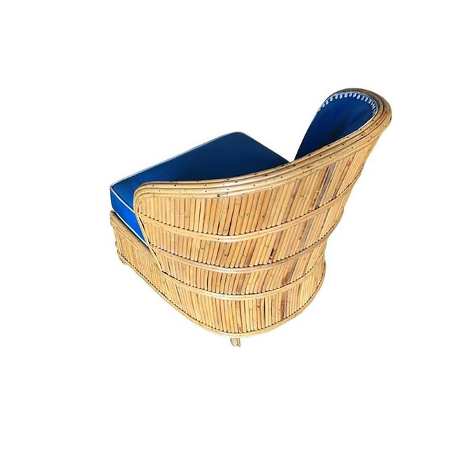 Rattan Rare Art Deco Shell Back Stick Rattan Lounge Chairs For Sale - Image 7 of 10