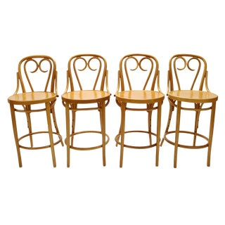 Mid Century Signed Thonet Bar Stools - Set of 4 For Sale