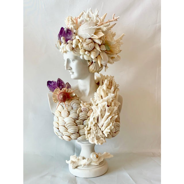 Greek Artemis in Shells Corals and Amethyst Sculpture For Sale In West Palm - Image 6 of 6