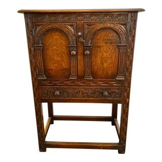 1800s Hand Carved Tiger Oak Dry Bar For Sale