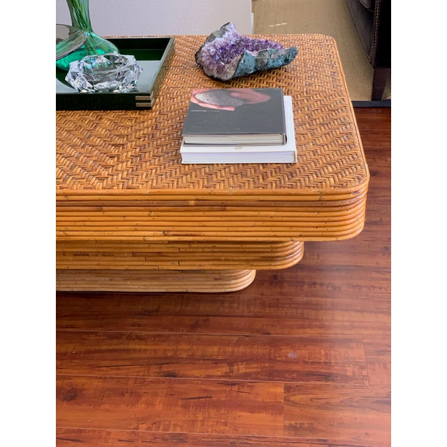 Wood Mid-Century Pencil Reed Stacked Rattan Coffee Table For Sale - Image 7 of 10