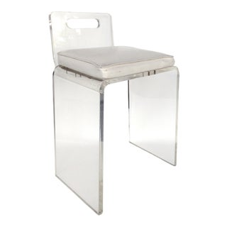 Petite 1970s Lucite Vanity Stool or Chair W/ Upholstered Seat For Sale