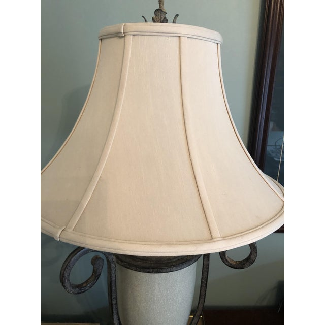 Metal Table Lamp & Lamp Shade For Sale - Image 7 of 9