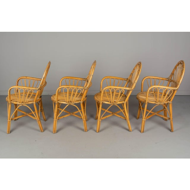 French Bamboo & Rattan Dining Chairs- Set of 4 For Sale In Orlando - Image 6 of 11