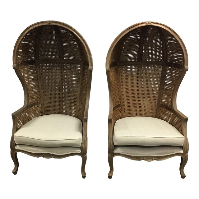 Canopy Caned Back Chairs - A Pair - Image 1 of 7