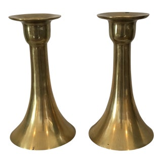 Vintage Mid-Century Fluted Brass Candlesticks - A Pair For Sale