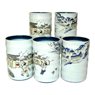 Historic Yunomi Japanese Tea Cups Tall Teacups With Kiln Painting - Set of 5 For Sale