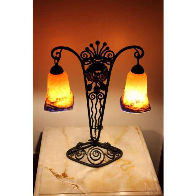 1920s French Art Deco Wrought Iron Double Lamp With Glass Shades For Sale - Image 12 of 12