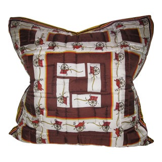 Quilted Hermes-Style Silk Scarf Pillow Envelope For Sale