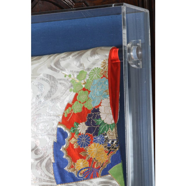 Japanese Ceremonial Kimono Framed in a Lucite Box For Sale - Image 4 of 7