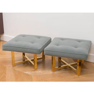 Low Brass Base Ottomans - A Pair Preview