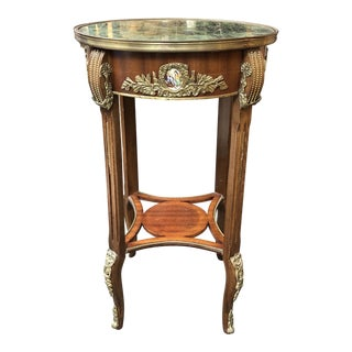 Neoclassic Green Marble Side Table + Gold Accents For Sale