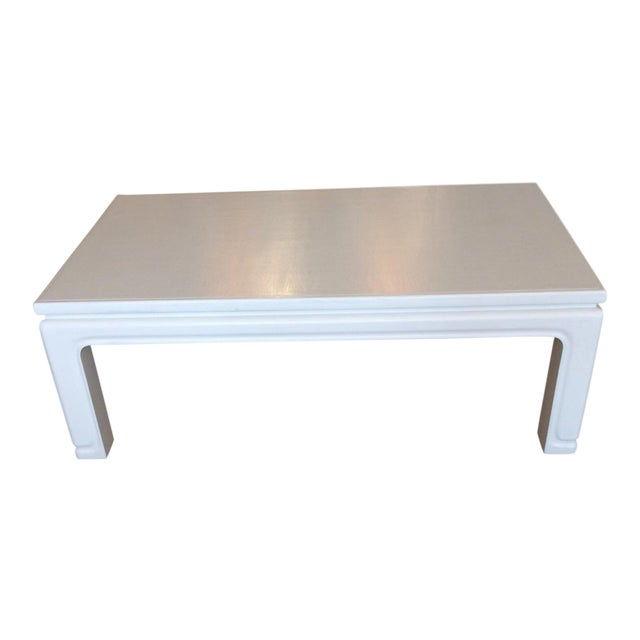Karl Springer Style Linen Wrapped Coffee Table For Sale