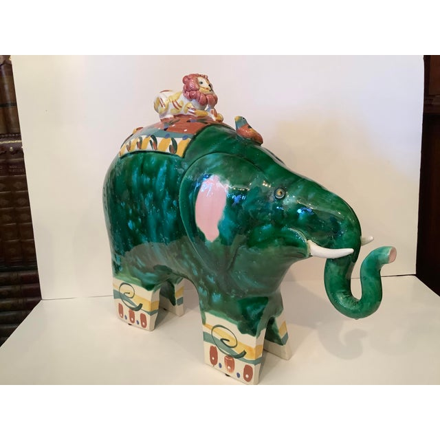 1980s Vintage Whimsical Glazed Ceramic Elephant Sculpture For Sale - Image 11 of 12