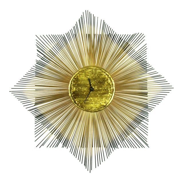 Signed Mid-Century Modern George Nelson Style Brass Sunburst Wall Clock - Image 1 of 10