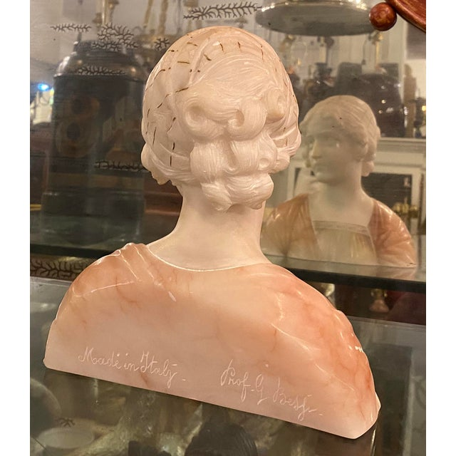 Antique Carved Italian Pink Alabaster Bust of Mignon by Prof. Giuseppe Bessi For Sale - Image 4 of 6