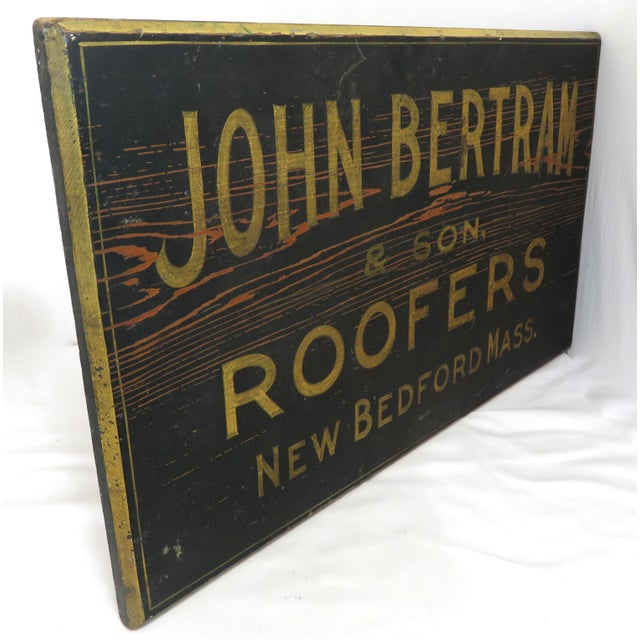 American Antique Wood New Bedford Mass. Roofers Sign For Sale - Image 3 of 13