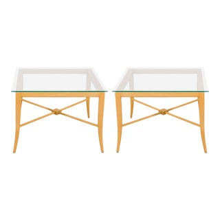 Tommi Parzinger End and Side Tables with X-Base Frame - a Pair For Sale