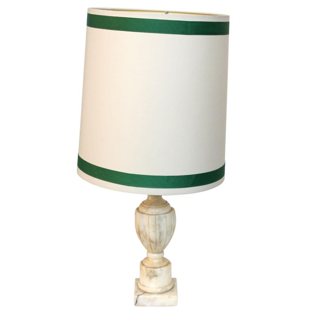 Marble Lamp with Shade - Image 1 of 5