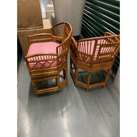 Asian 1970s Vintage Bamboo & Cane Chairs With Cushions - a Pair For Sale - Image 3 of 10