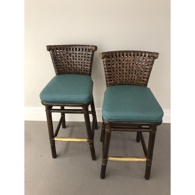 Teal Leather Like McGuire Bar Stools - a Pair For Sale - Image 12 of 12