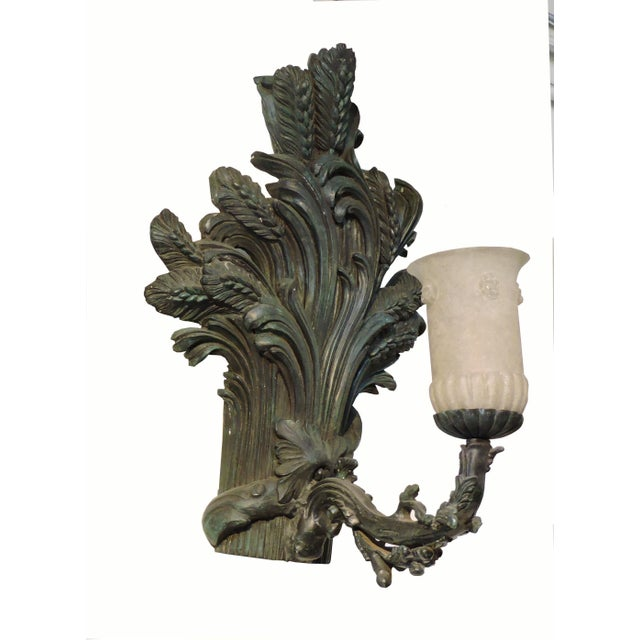 Gold Pair of Bronze Wheat Sheaf Sconces With Murano Glass Lamps For Sale - Image 8 of 8