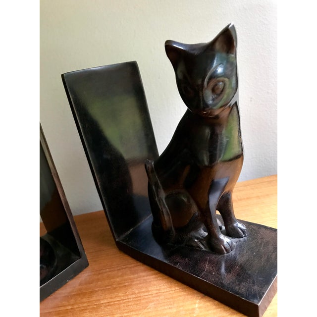 Vintage Book Ends Cats - Polished Stone, a Pair For Sale - Image 4 of 9