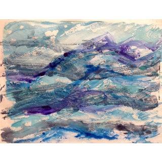 """Purple Tide"" Ocean Handmade Monotype, 2016"