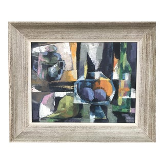 1960s Vintage Lewis Adler Original Oil on Canvas Cubist Still Life Painting