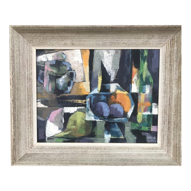1960s Vintage Lewis Adler Original Oil on Canvas Cubist Still Life Painting For Sale