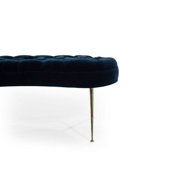 Tufted Benches in Deep Blue Mohair (Pair Available) For Sale - Image 11 of 12