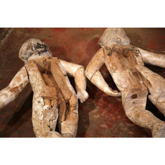 Mid-18th Century Italian Hand-Carved White Wash Cherubs - A Pair For Sale - Image 10 of 10