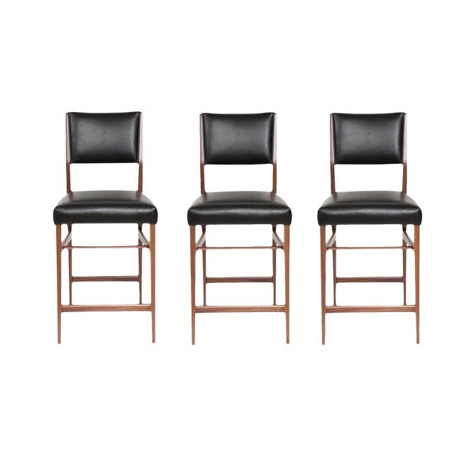 Set of Three Maze Walnut Stools For Sale In New York - Image 6 of 6