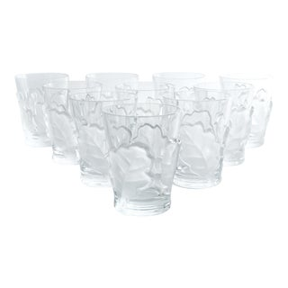 Lalique Crystal Barware Double Old Fashion Glassware Set Ten For Sale